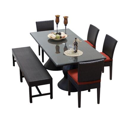 NAPA-RECTANGLE-KIT-4C1B-C-TERRACOTTA Napa Rectangular Outdoor Patio Dining Table With 4 Chairs and 1 Bench with 2 Covers: Wheat and