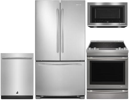 4-Piece Kitchen Package With JFC2089BEM 36 inch  Counter Depth French Door  Refrigerator  JES1450DS 30 inch  Slide-in Electric Range  JMV8208CS 30 inch  Over the Range