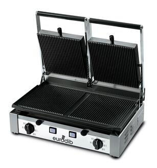 PDR3000 Panini Grill With Adjustable All Ribbed Top Surface  Four Shock-Proof  Coated Heating Elements  Independent Thermostats  Removable Grease Tray In 663151