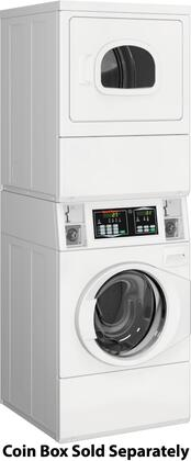 "STGNCASP113TW01 27"" Commercial Stack Washer and Gas Dryer with 3.42 Cu. Ft. Washer Capacity  7 Cu. Ft. Dryer Capacity  QUANTUM Controls  Low Water Usage"