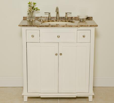 2009WB 34 inch  Patty Single Vanity With Brown Marble Countertop  Two Doors  One Shelf  1 inch  Attached Backsplash  Back Cut Out For Plumbing  in Antique