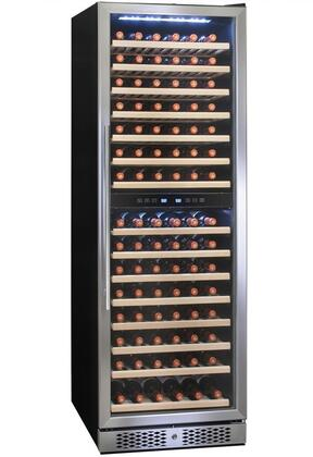 WC0037 24 inch  Dual Zone Wine Cooler with 160 Bottle Capacity  Touch Panel Control  15 Shelves  Thermoelectric Cooling  LED Lighting  in Stainless