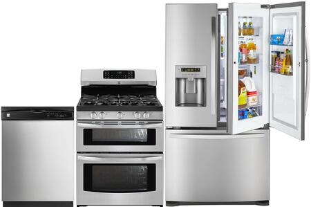 4-Piece Stainless Steel Kitchen Package with 73063 French Door Refrigerator  78043 Freestanding Double Oven Gas Range  80323 Over-the-Range Microwave