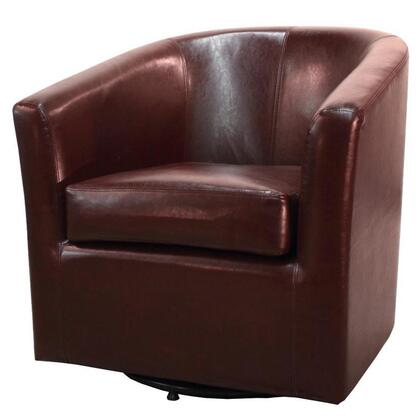 Hayden Collection 193012B-208 Chair with 360 Degree Swivel  Stitching Details and Bonded Leather Upholstery in Saddle