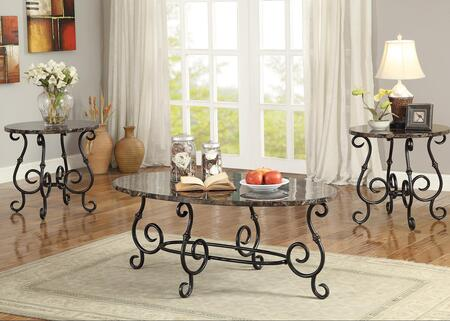 Occasional Table Sets 700187 3 PC Living Room Table Set with 2 End Tables  Coffee Table  Metal Scrolled Legs and Faux Marble Top in Black