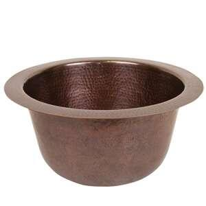 CF158AN Solid Hand Hammered Copper 16 inch  Diameter Large Round Bar/Prep Sink in Antique Copper
