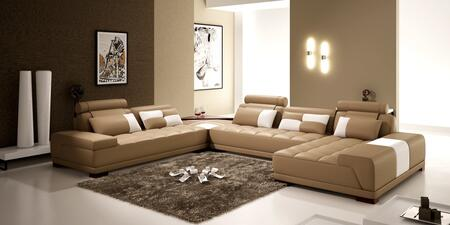 VGEV-SP-5005B Divani Casa 5005B - Modern Bonded Leather Sectional Sofa w Ottoman and Glass End