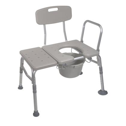 Combination Plastic Transfer Bench With Commode Opening 12011kdc-1