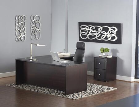 1C200005EDES Espresso L-Shaped Executive Desk w/ Mobile