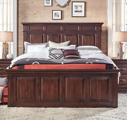 KALRM5030 Kalispell Mantel Bed Constructed in Solid Plantation Mahogany with Bolt on Bed Rails and Felt Lined Drawers in Rustic Mahogany Finish