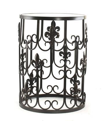 BTGFLD Barrel Table w/ Fleur-de-lis and Removeable Glass