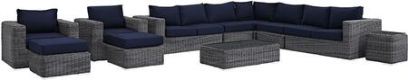 Summon Eei1899grynavset 11 Pc Patio Sectional Set With 2 Armchairs + 2 Armless Chairs + 2 Ottomans + Corner Chair + Right Arm Loveseat + Left Arm Loveseat +