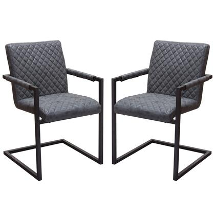 Nolan NOLANDCBL2PK 2-Pack Dining Chairs with Black Powder Coat Frame in Black Diamond Tufted