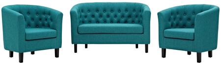 Modway EEI-3149-TEA-SET Prospect 3 Piece Upholstered Fabric Loveseat and Armchair Set Two, Teal