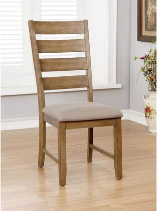 Xochil Collection CM3171SC-2PK Set of 2 Transitional Style Side Chair with Slat Back and Padded Fabric Cushion in Weathered Natural Tone and
