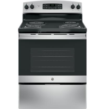 JB255RKSS 30 Star K Freestanding Electric Range with 5 cu. ft. Oven Capacity  4 Coil Heating Elements  Dual Bake Element and Self Cleaning:
