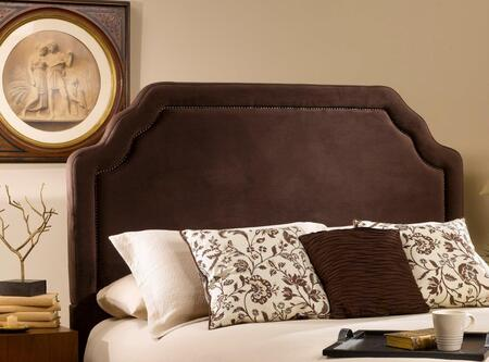 Carlyle 1554HQRC Queen Sized Bed with Headboard and Frame  Nail Head Trim and Fabric Upholstery in Chocolate