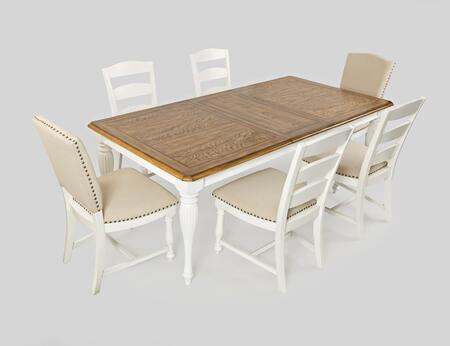 Castle Hill Collection 177684SET 7 PC Dining Room Set with Dining Table + 4 Ladder Back Chairs + 2 Solid Back Chairs in Antique White and Oak