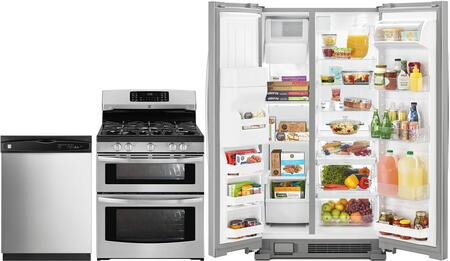4-Piece Stainless Steel Kitchen Package with 51113 Side-by-Side Refrigerator  78043 Freestanding Double Oven Gas Range  80323 Over-the-Range