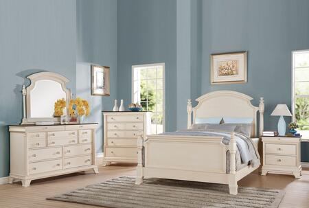 Tahira 24417EK5PC Bedroom Set with Eastern King Size Bed + Dresser + Mirror + Chest + Nightstand in Ivory