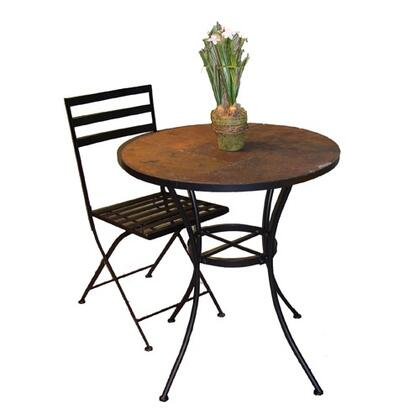 601611 Stone Collection Round Table with Slate