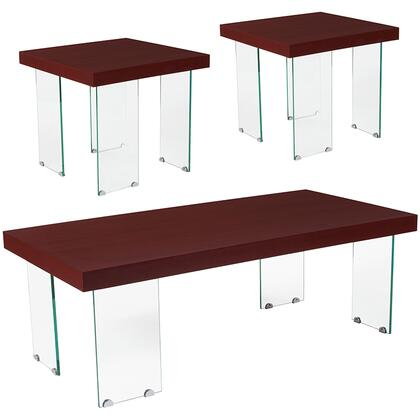 Forest Hills Collection NAN-CEK-7-GG 3 Piece Coffee And End Table Set In Red Cherry Wood Grain Finish And Glass