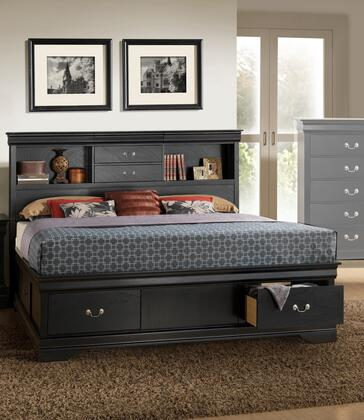 Louis Philippe Collection King Size Bed with 6 Storage Drawers  Low Profile Footboard  Bookcase Headboard  Tropical Hardwood Construction and Wood Veneer