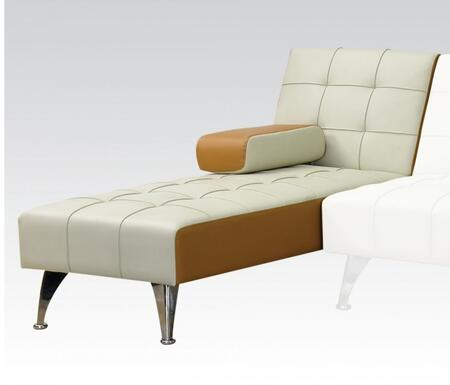 Lytton 57142 60 inch  Adjustable Chaise with Chrome Legs and PU Leather Upholstery in Beige and Brown