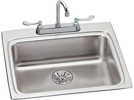 Lustertone LRAD252265PDC 25 inch  x 22 inch  Stainless Steel Single Bowl Top Mount Sink with Faucet Kit  Perfect Drain and ADA