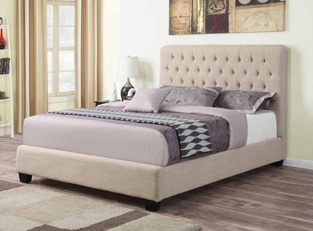 Chloe Collection 300007T Twin Size Bed with Fabric Upholstery  Tufted Headboard  Sturdy Block Feet and Wood Frame Construction in