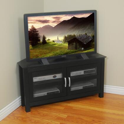 W44CCRBL 44 Black Wood Corner TV Stand
