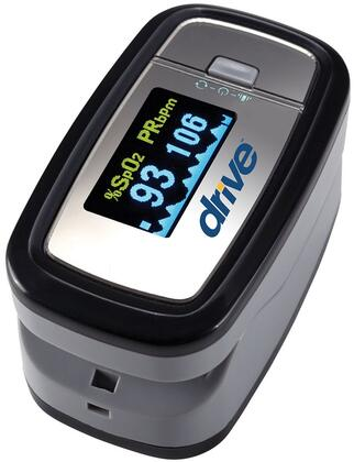 MQ3200 View SpO2 Deluxe Pulse Oximeter with OLED Display  Auto-Off Function  Pulse Rate Display  Includes Lanyard and Two 1.5V AAA Batteries in Grey
