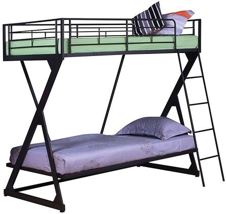 Zazie Collection 37132 Twin Over Twin Size Bunk Bed with Bookshelf Included  Reversible Ladder  Easy Access Guardrail  Slat System Included and Steel Tube