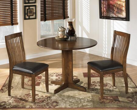 Stuman Collection 3-Piece Dining Room Set with Round Dining Table and 2 Side Chairs in Medium