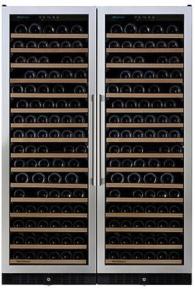 237870267 24 inch  N'FINITY PRO Double L RED Wine Cellar with 332 Bottles Capacity  Cool Blue LED Lighting  Digital Climate Control  and Odor Free  in Stainless
