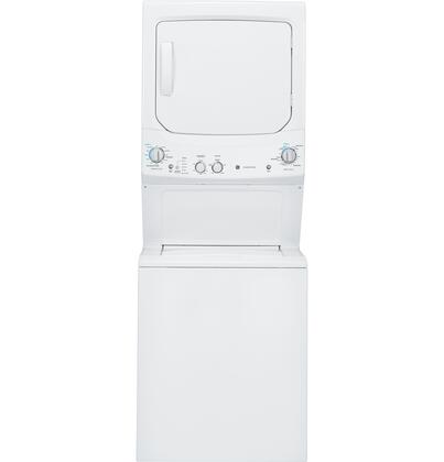 GE Spacemaker GUD27ESSJWW 27 Inch Electric Laundry Center with 3.2 cu. ft. Washer Capacity, 11 Wash Cycles, 5.9 Dryer Capacity, 4 Dry Cycles, Auto-Load Sensing, Rotary Knob Controls and Bleach and Fabric Softener Dispensers GUD27ESSJWW