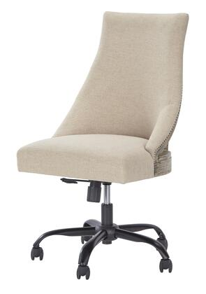 H200-07 Home Office Swivel Desk Chair with Exposed Wood Frame  Fabric Upholstery and Adjustable Seat Height with Manual Tilt in Linen