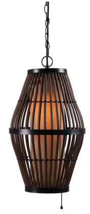 93390RAT Biscayne 1 Light Outdoor Pendant in Rattan Finish with Bronze