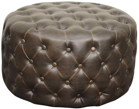 Lulu Collection 353616B-V01 Round Ottoman with Solid Wood Construction  Button Tufted Details and Bonded Leather Upholstery in Vintage Dark