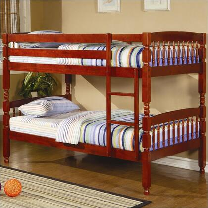 Coral Collection 460221 Twin Over Twin Bunk Bed with Built-In Ladder  Safety Guard Rails and Solid Pine Wood Construction in Red Brown