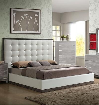Brently Collection King Size Platform Bed with White Faux Leather Upholstery  High Button Tufted Headboard  Low Profile Footboard and Tropical Hardwood