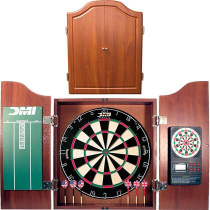 CABSETCH Deluxe Cherry Dartboard Cabinet Set With Electronic Scorer  Official 18 inch x1.5 inch  Bristle Dartboard  and Two Sets of Steel Tip