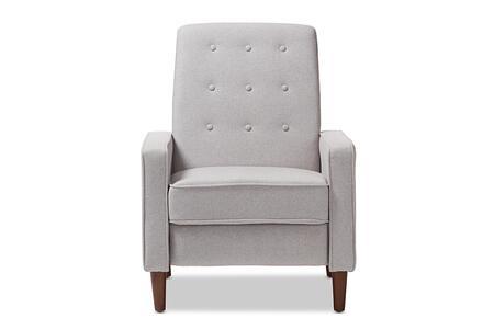 Baxton Studio Mathias Mid-century Modern Light Grey Fabric Upholstered Lounge Chair/Mid-Century/Grey/Fabric Dacron 100%/Eucalyptus Wood/HDF/Foam