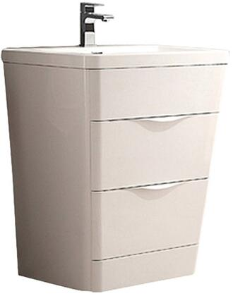 Milano Collection FCB8525WH-I 26 inch  Single Vanity with Integrated Acrylic Sink  2 Soft Closing Drawers and Tapered Shaped in Glossy