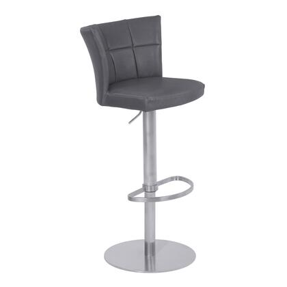 Encore Collection LCENBAVGBS Adjustable Metal Barstool in Vintage Gray Faux Leather with Brushed Stainless Steel