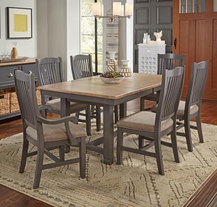 Port Townsend Collection POTSPTT4USC2UAC 7-Piece Dining Room Set with Trestle Table  4x Upholstered Side Chairs and 2x Upholstered Armchairs in Gull Grey and