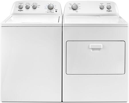 White Top Load Laundry Pair with WTW4855HW 28 inch  Top Load Washer and WGD4850HW 29 inch  Gas