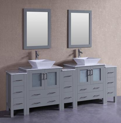 AGR230SQCM3S 96 inch  Double Vanity with Carrara Marble Top  Flared Square White Ceramic Vessel Sink  F-S02 Faucet  Mirror  4 Doors and 13 Drawers in