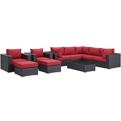 Convene Collection EEI-2169-EXP-RED-SET 10-Piece Outdoor Patio Sectional Set with Coffee Table  3 Armless Chairs  2 Armchairs  2 Corner Sections and 2 Ottomans