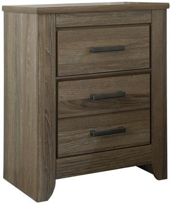 Zelen B248-92 24 2-Drawer Nightstand with Replicated Oak Grain  Large Dark Pewter Color Handles and Side Roller Glides in Warm